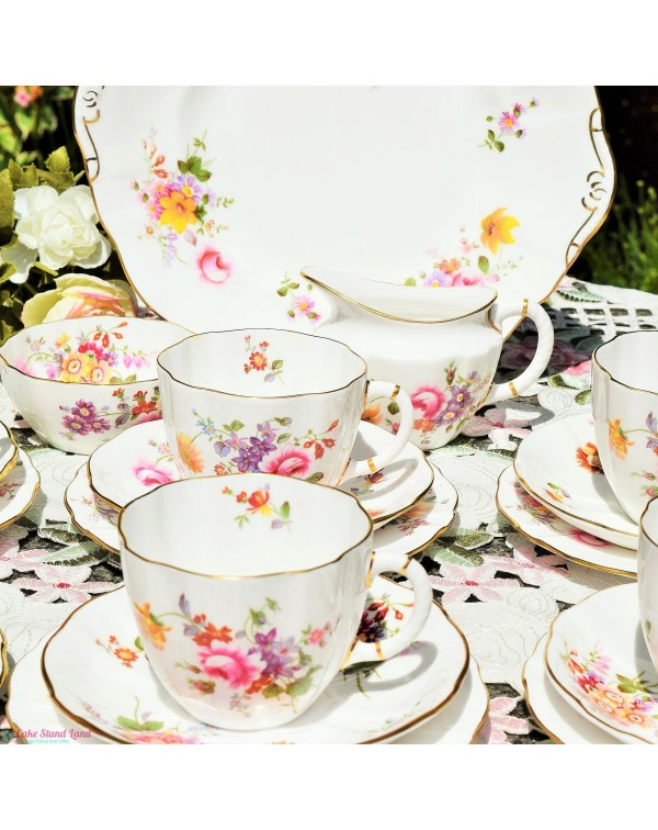 (SOLD) ROYAL CROWN DERBY POSIES TEA SET FOR SIX