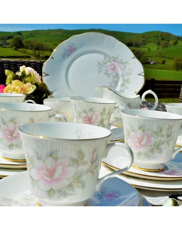 CROWN TRENT PINK ROSE TEA SET