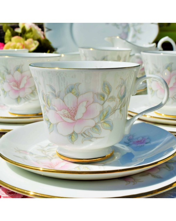 (OUT OF STOCK) CROWN TRENT PINK ROSE TEA TRIO
