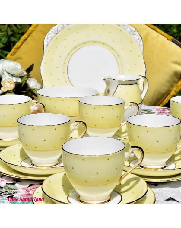 (SOLD) DAKIN LEMON POLKA DOT TEA SET