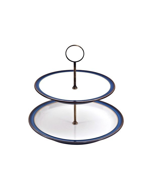 DENBY IMPERIAL BLUE CAKE STAND 2 TIER