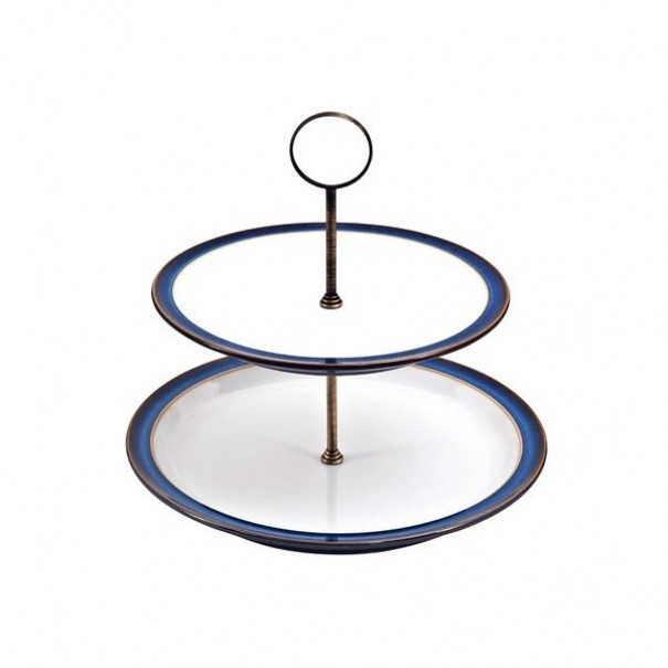 (SOLD) DENBY IMPERIAL BLUE CAKE STAND 2 TIER
