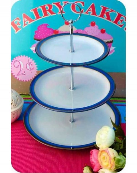 DENBY IMPERIAL BLUE CAKE STAND