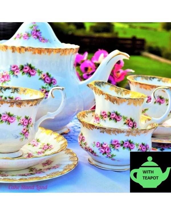 ROYAL ALBERT DIMITY ROSE TEA SET