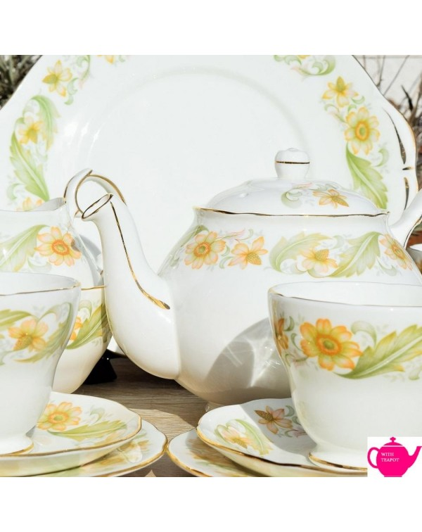 DUCHESS GREENSLEEVES TEA SET WITH TEAPOT