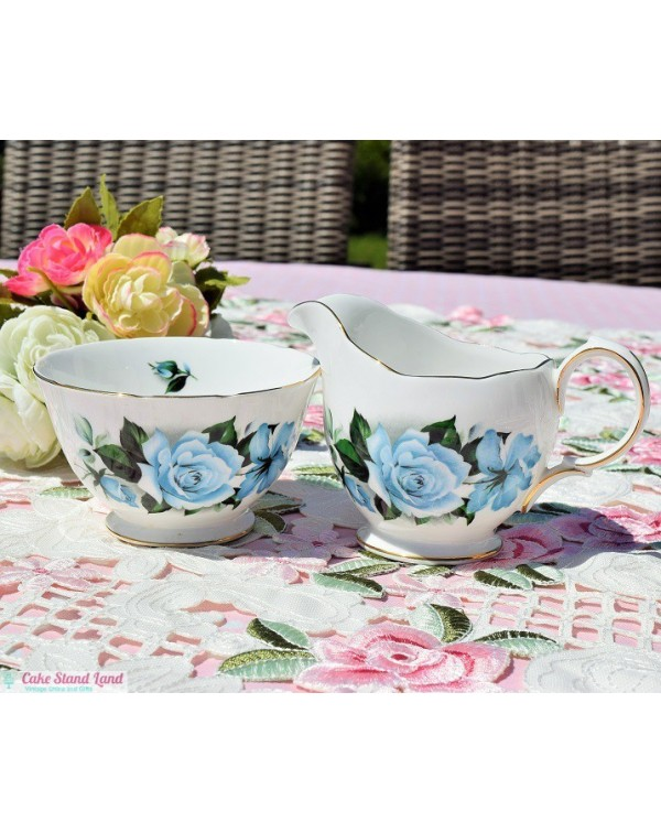 QUEEN ANNE BLUE ROSE MILK & SUGAR SET