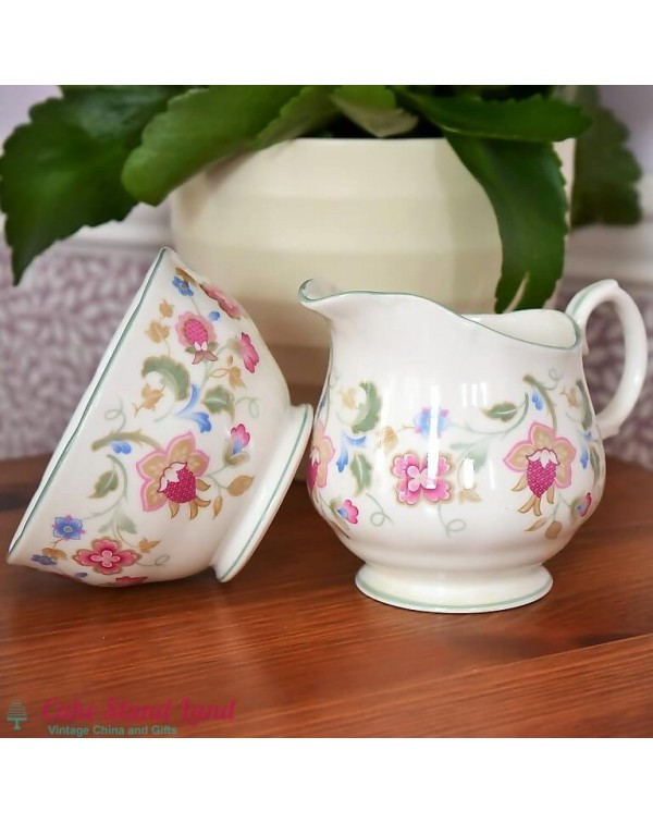 DUCHESS JACOBEAN MILK JUG AND SUGAR BOWL