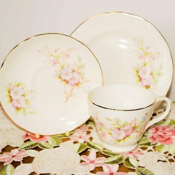 DUCHESS PINK FLORAL TEA TRIO