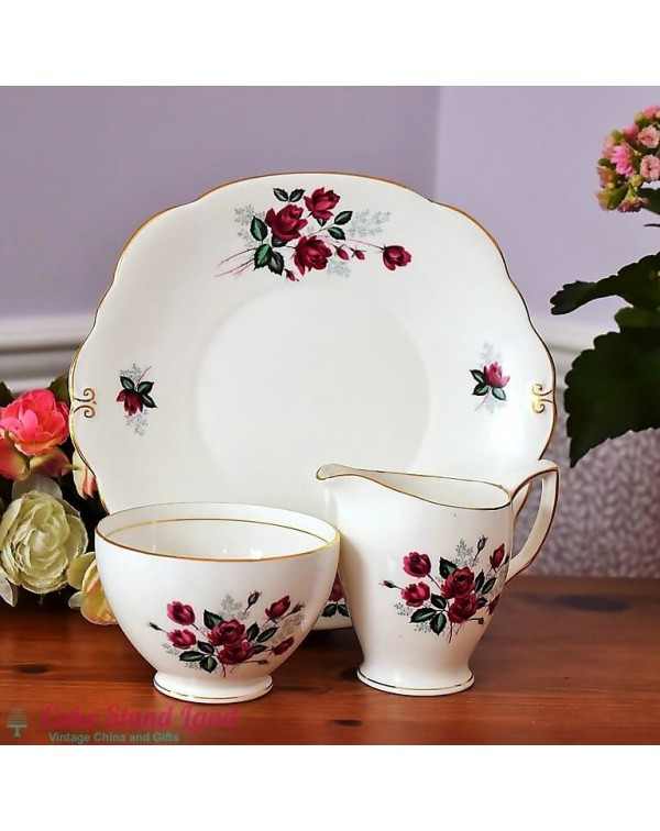 DUCHESS RED ROSE CAKE PLATE SET