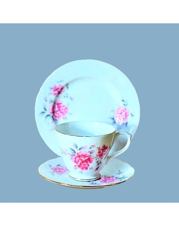 DUCHESS PINK FLORAL TEA TRIO