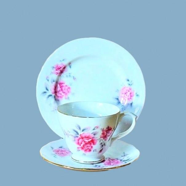 (SOLD) DUCHESS PINK FLORAL TEA TRIO