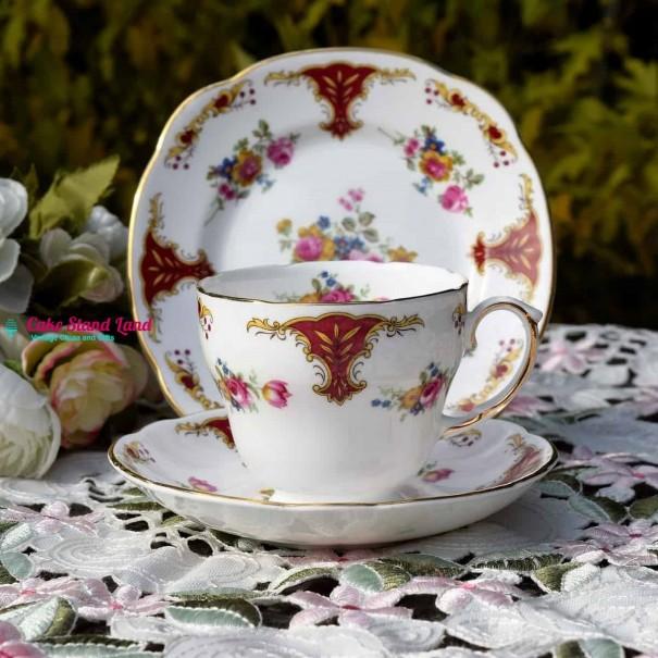 (SOLD) DUCHESS  ROSE POSY TEA TRIO