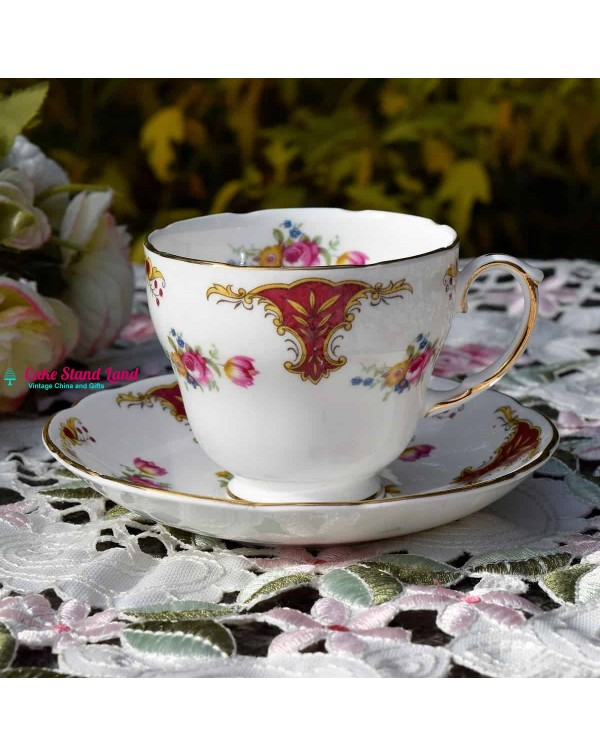 (SOLD) DUCHESS  ROSE POSY TEA CUP & SAUCER
