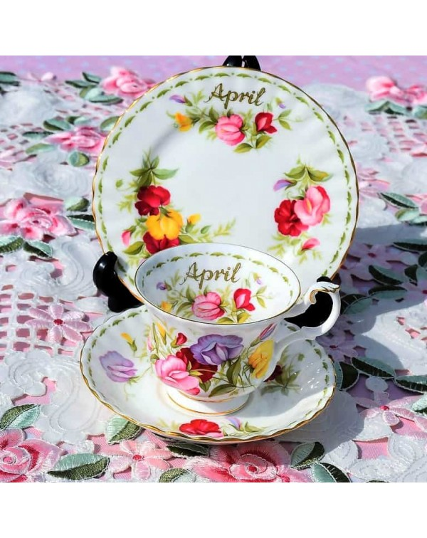 (SOLD) ROYAL ALBERT FLOWER OF THE MONTH TRIO APRIL