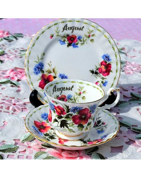 (OUT OF STOCK) ROYAL ALBERT FLOWER OF THE MONTH TRIO AUGUST