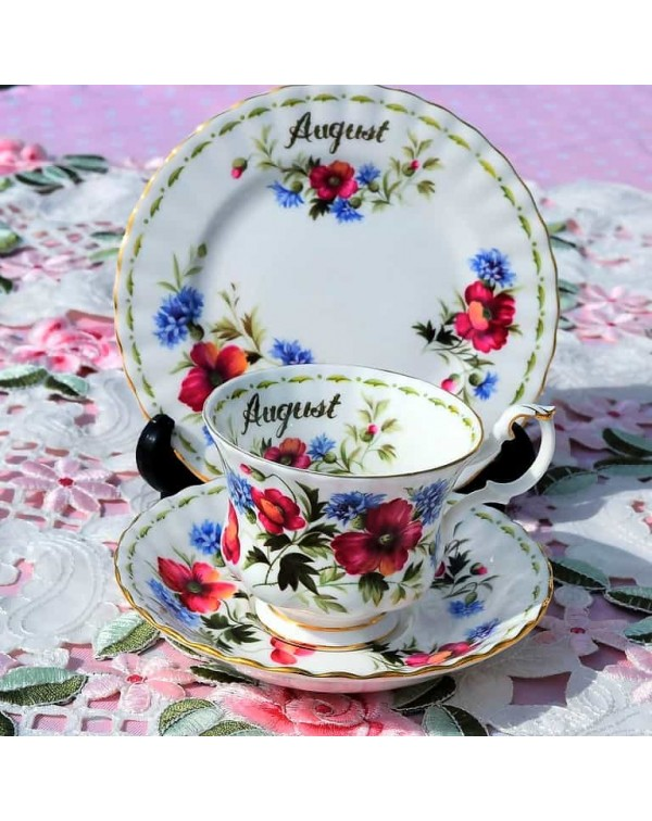 (SOLD) ROYAL ALBERT FLOWER OF THE MONTH TRIO AUGUS...