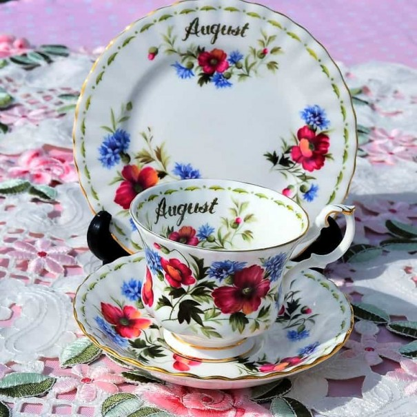 (SOLD) ROYAL ALBERT FLOWER OF THE MONTH TRIO AUGUST
