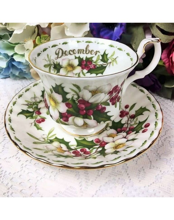 (SOLD) ROYAL ALBERT FLOWER OF THE MONTH DUO DECEMB...