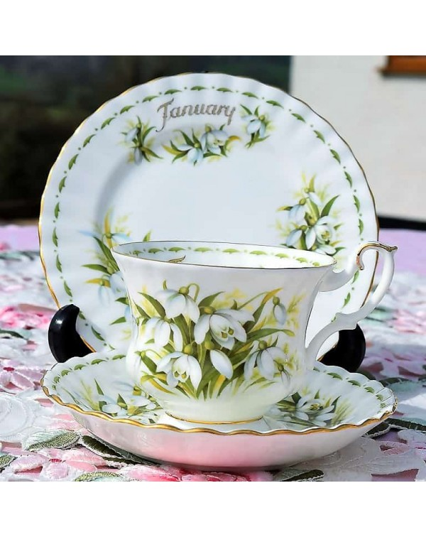 (SOLD) ROYAL ALBERT FLOWER OF THE MONTH TRIO JANUA...