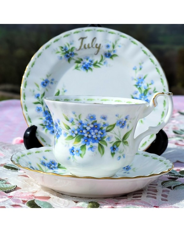 (SOLD) ROYAL ALBERT FLOWER OF THE MONTH TRIO JULY