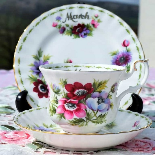 (SOLD) ROYAL ALBERT FLOWER OF THE MONTH TRIO MARCH