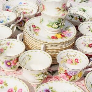 ROYAL ALBERT FLOWERS OF THE MONTH 36 PIECE TEA SET