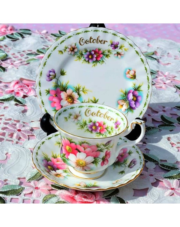 (SOLD) ROYAL ALBERT FLOWER OF THE MONTH TRIO OCTOB...