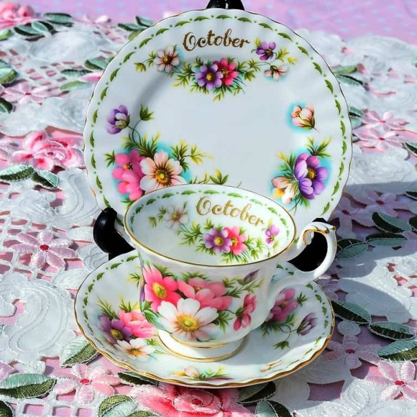 (SOLD) ROYAL ALBERT FLOWER OF THE MONTH TRIO OCTOBER