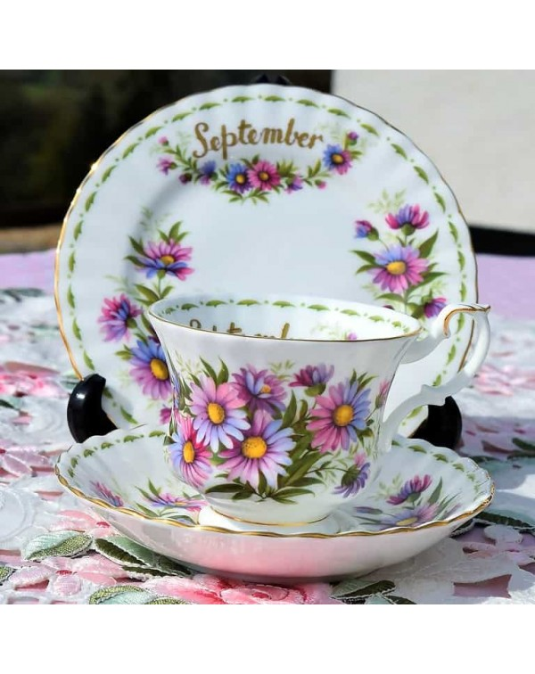 (SOLD) ROYAL ALBERT FLOWER OF THE MONTH TRIO SEPTE...