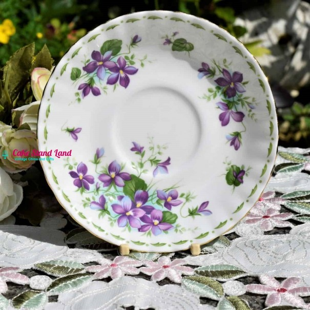 ROYAL ALBERT FLOWERS OF THE MONTH SAUCER FEBRUARY VIOLETS
