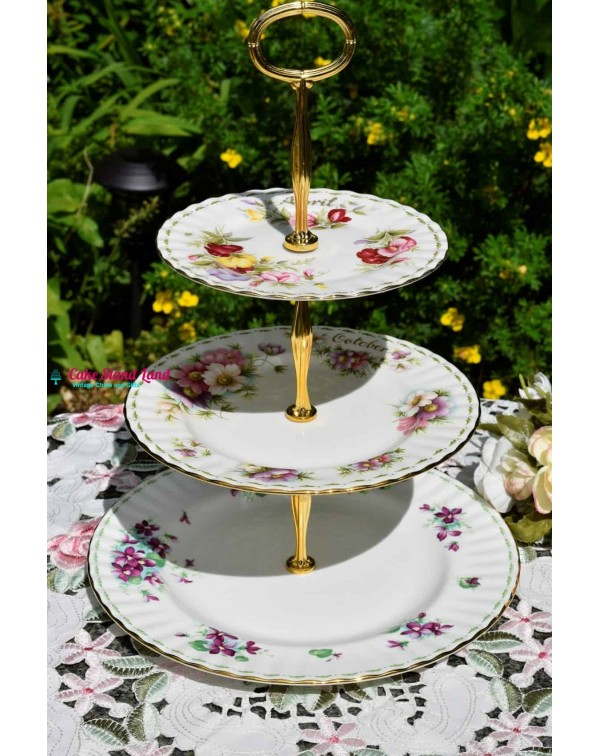 (SOLD) FLOWERS OF THE MONTH CAKE STAND ROYAL ALBER...
