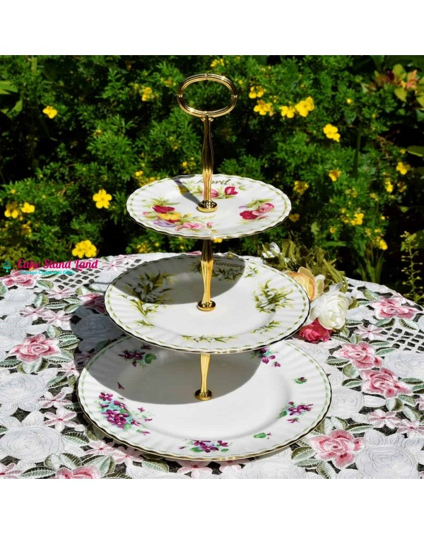(SOLD) ROYAL ALBERT FLOWERS OF THE MONTH CAKE STAN...