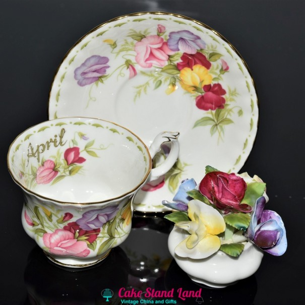 (SOLD) ROYAL ALBERT FLOWERS OF THE MONTH APRIL 3 PIECE SET