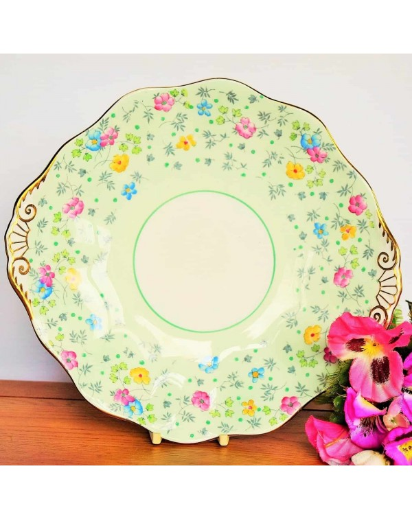 (SOLD) FOLEY CAKE PLATE GREEN CHINTZ
