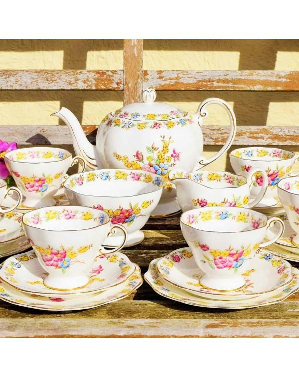 (SOLD) FOLEY ART DECO TEA SET WITH TEAPOT