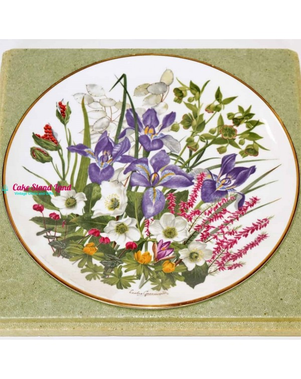 FRANKLIN MINT FLOWERS OF THE YEAR PLATE JANUARY