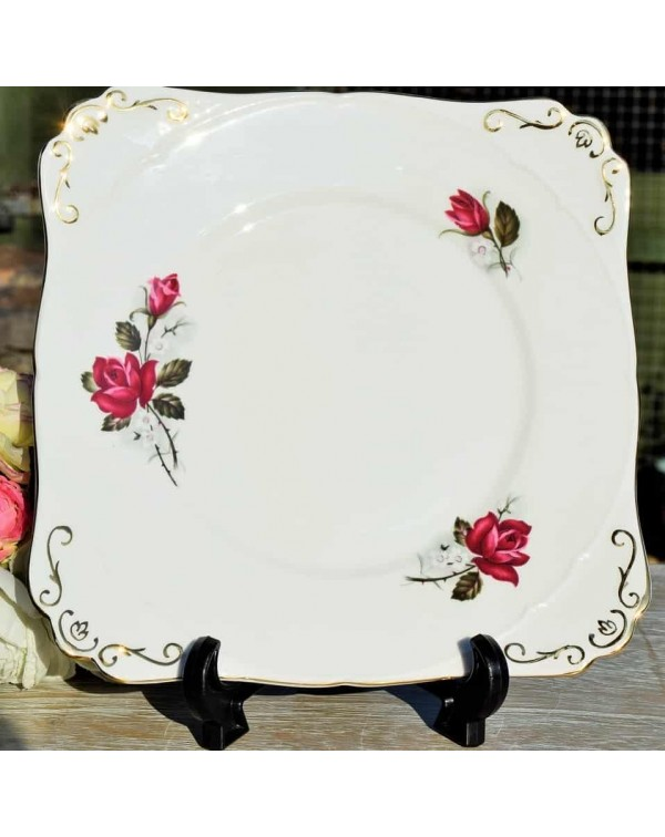 (OUT OF STOCK) GLADSTONE RED ROSE CAKE PLATE