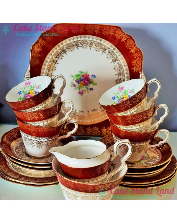 (OUT OF STOCK) GLADSTONE RUBY FLORAL TEA SET