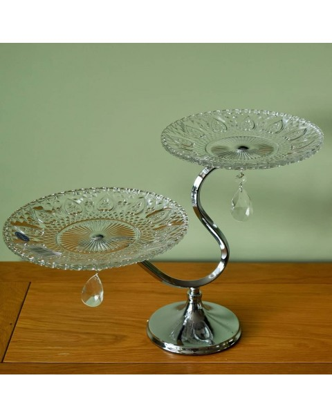 PANDORA TWO TIER GLASS CAKE STAND