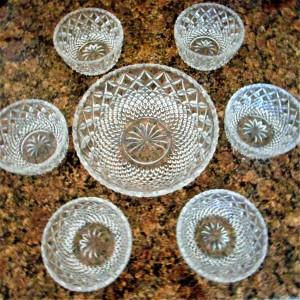CUT GLASS DESERT BOWL SET