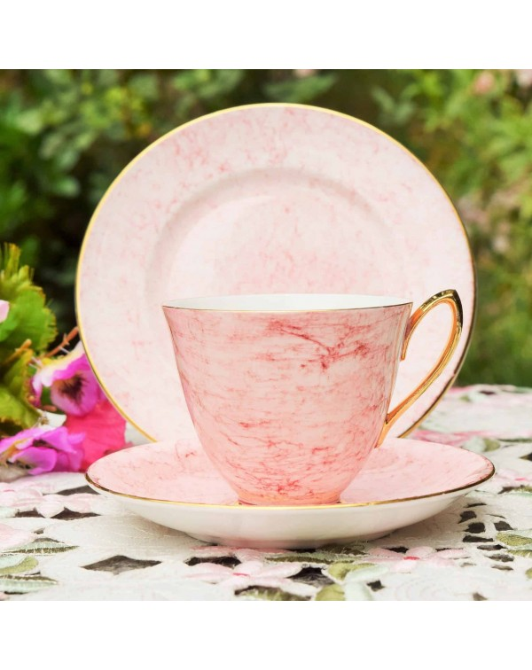 ROYAL ALBERT GOSSAMER  PINK TEA TRIO