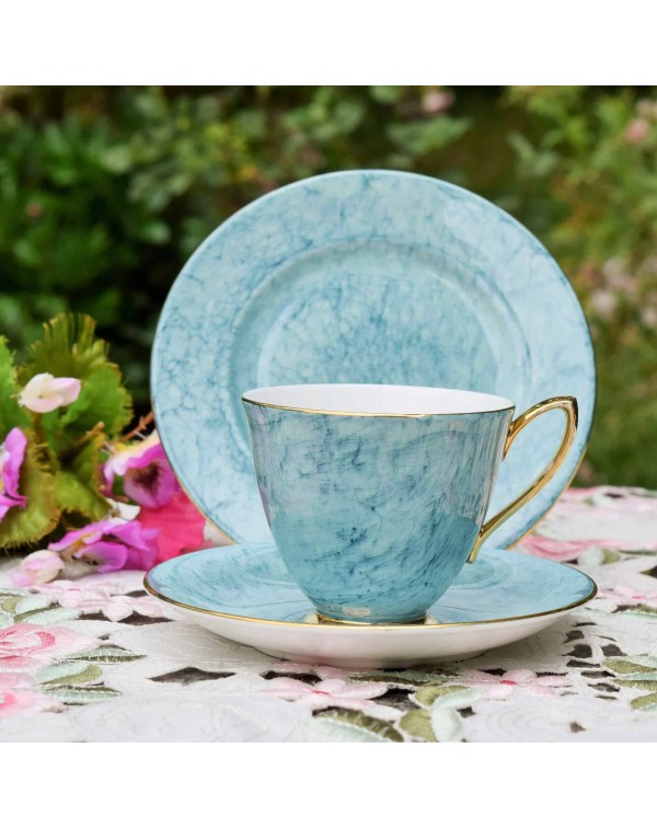 ROYAL ALBERT GOSSAMER BLUE TEA TRIO