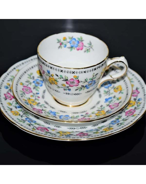 COPELAND GROSVENOR FLORAL TEA TRIO