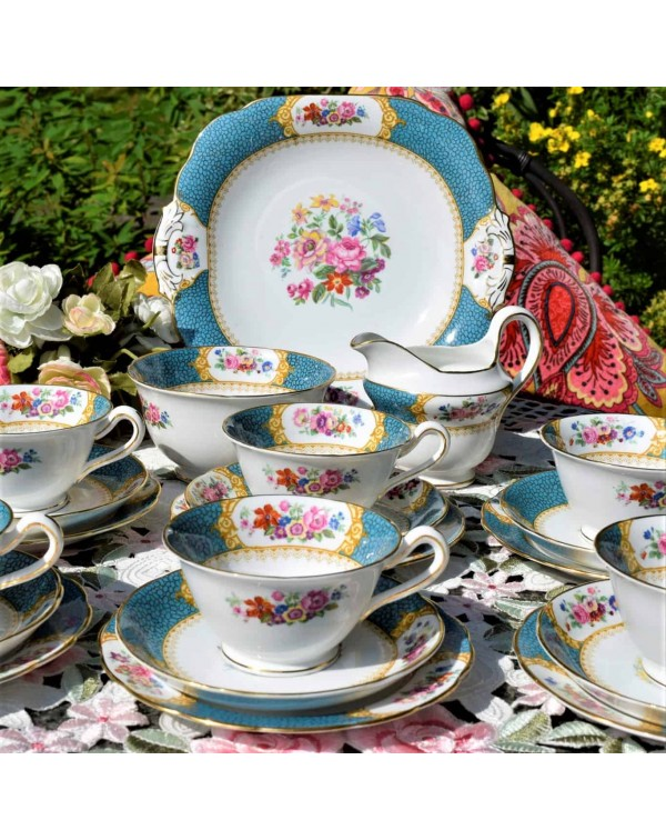 (SOLD) GROSVENOR TURQUOISE FLORAL TEA SET