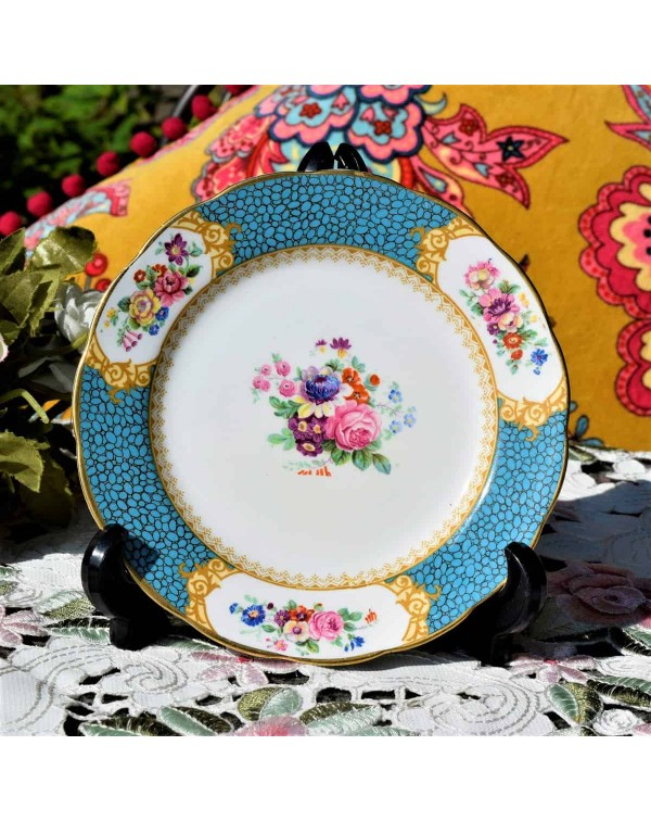 (SOLD) GROSVENOR TURQUOISE FLORAL TEA PLATE 16 cm