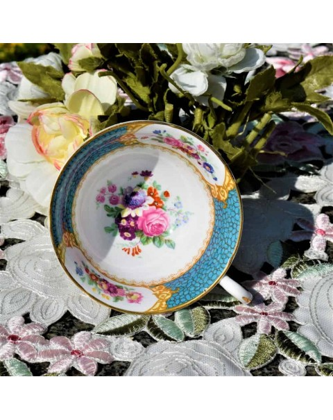 GROSVENOR TURQUOISE FLORAL TEA CUP