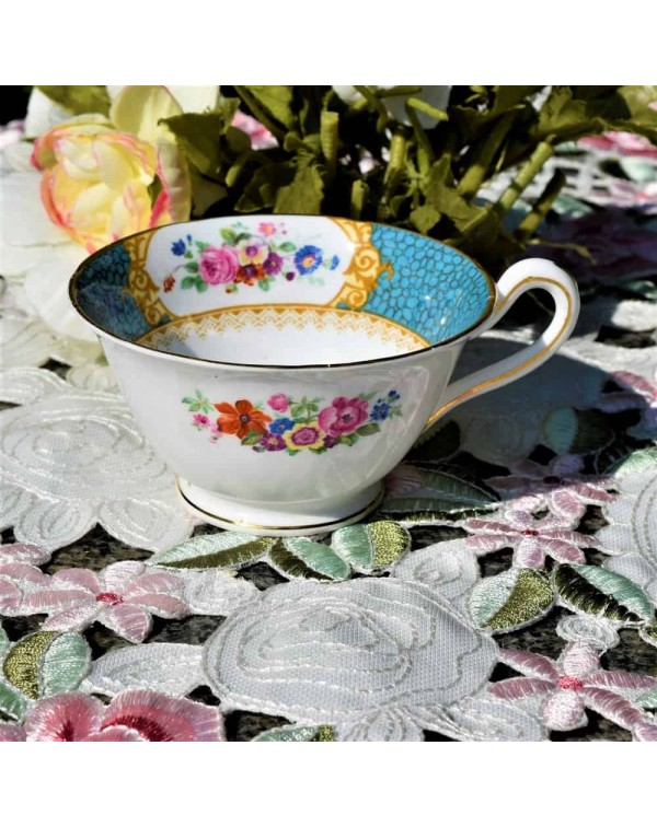 (SOLD) GROSVENOR TURQUOISE FLORAL TEA CUP