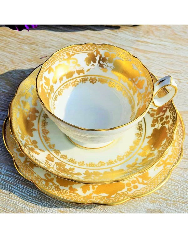 (OUT OF STOCK) HAMMERSLEY ANTIQUE GOLD TEA TRIO