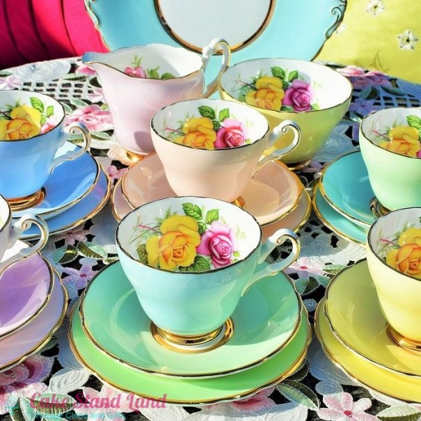 (OUT OF STOCK) HARROBY HARLEQUIN TEA SET 6 TRIOS