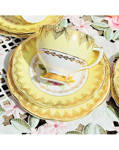 IMPERIAL CHINA YELLOW ROSE TEA SET